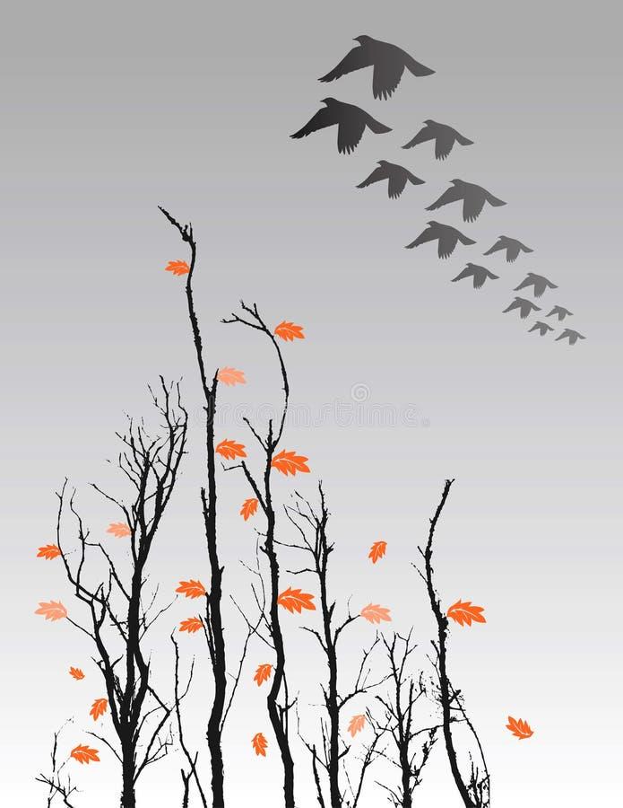 El volar de los árboles y de los pájaros de la caída ilustración del vector