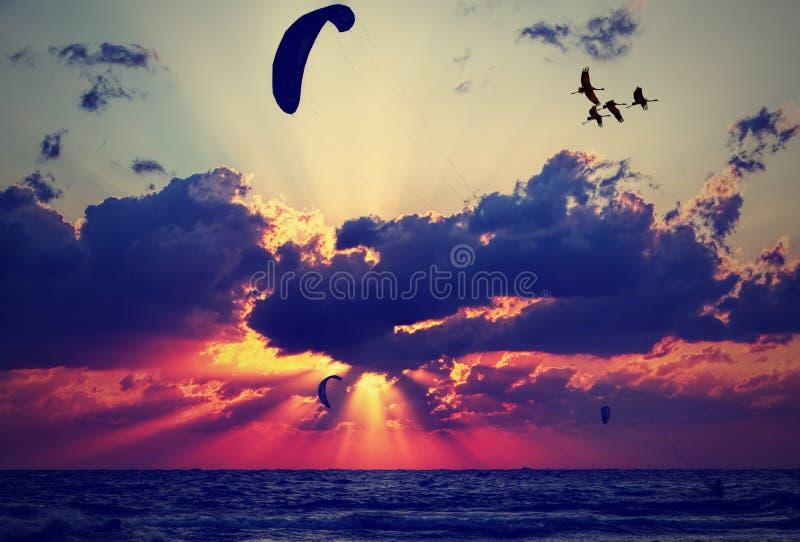 El volar junto en la puesta del sol imagen de archivo