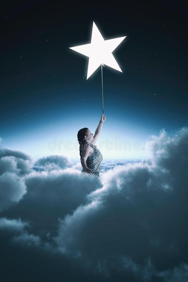 El volar sobre las nubes ilustración del vector
