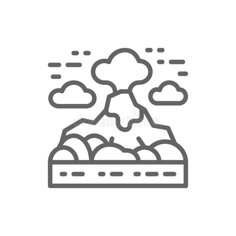 El volcán, montañas ajardina la línea icono stock de ilustración