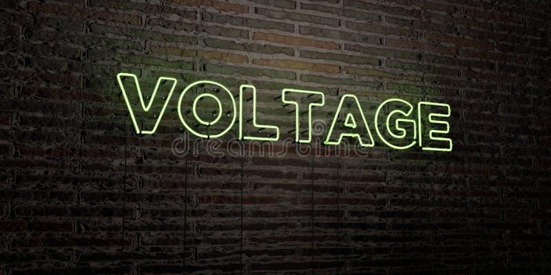 El VOLTAJE - señal de neón realista en fondo de la pared de ladrillo - 3D rindió imagen común libre de los derechos stock de ilustración