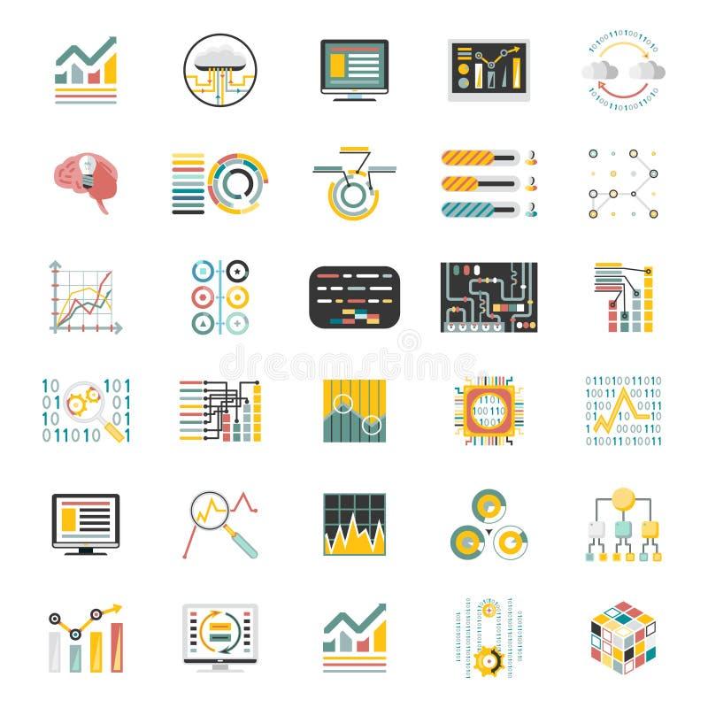 El volumen de proceso de datos en los iconos blancos del fondo fijó vector móvil de la plantilla de Apps del diseño plano de Info ilustración del vector