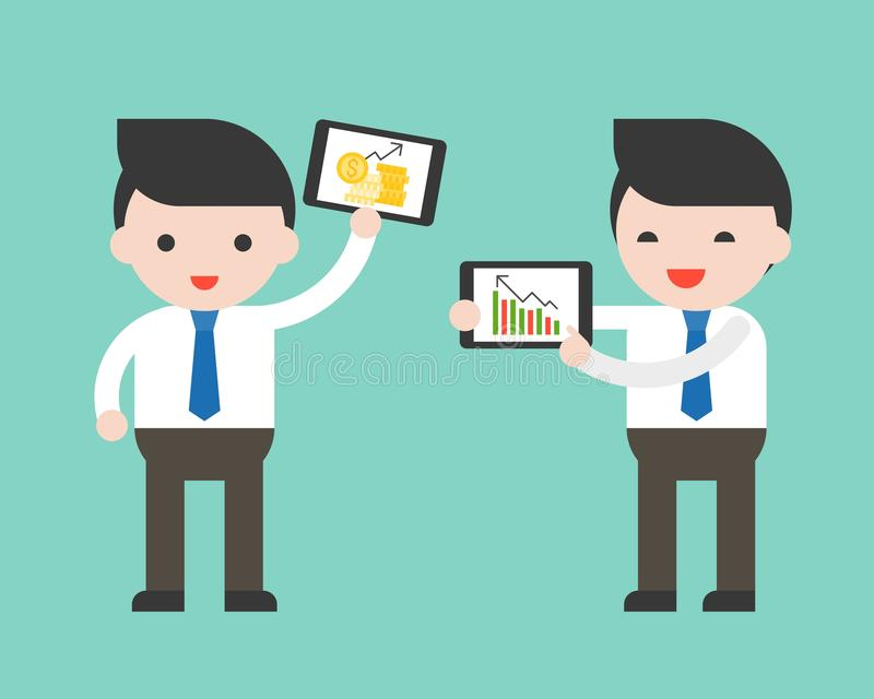 El volumen de ventas o la información del presente de la tableta de la tenencia del hombre de negocios, leyó stock de ilustración