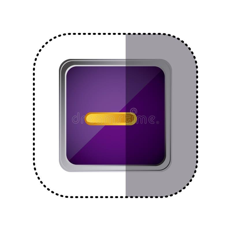 el volumen púrpura del emblema abajo abotona ilustración del vector
