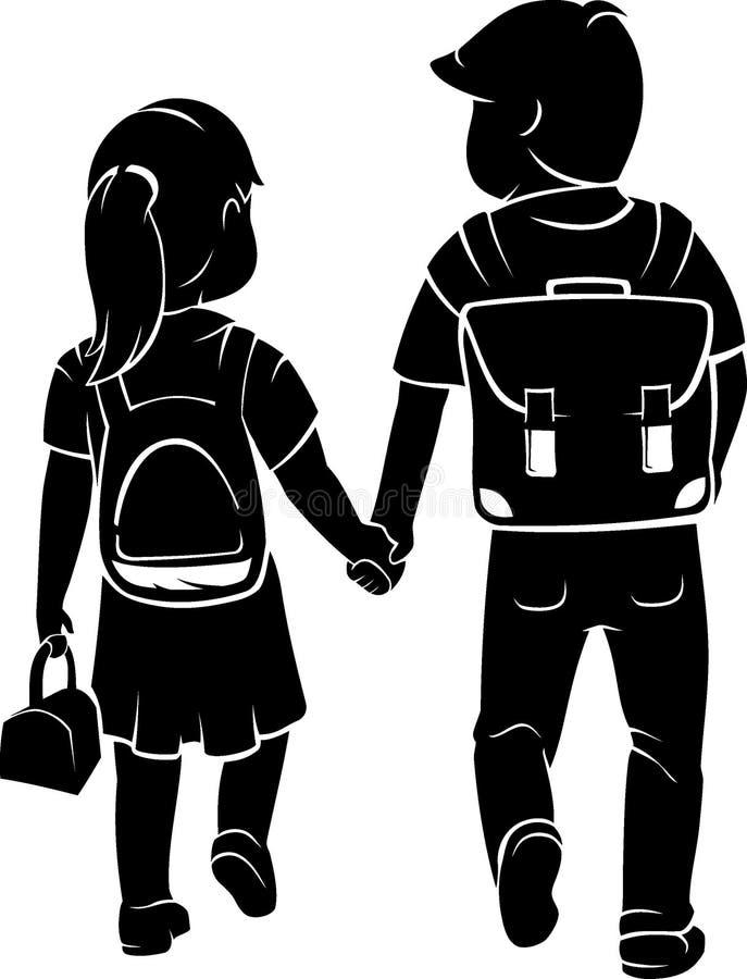 El volver a los estudiantes de la escuela stock de ilustración