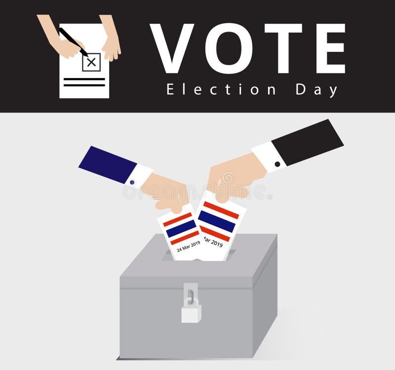 El votante o el distrito electoral elegible en la urna bloqueada para el día de elección general, mano del hombre en traje cayó l stock de ilustración