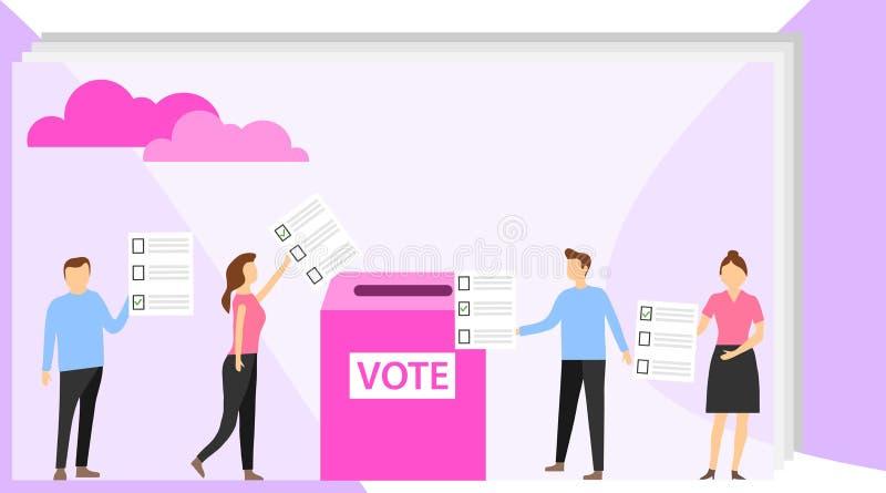 El voto, gente da su voto para el candidato Voto de la gente Ilustraci?n del vector libre illustration