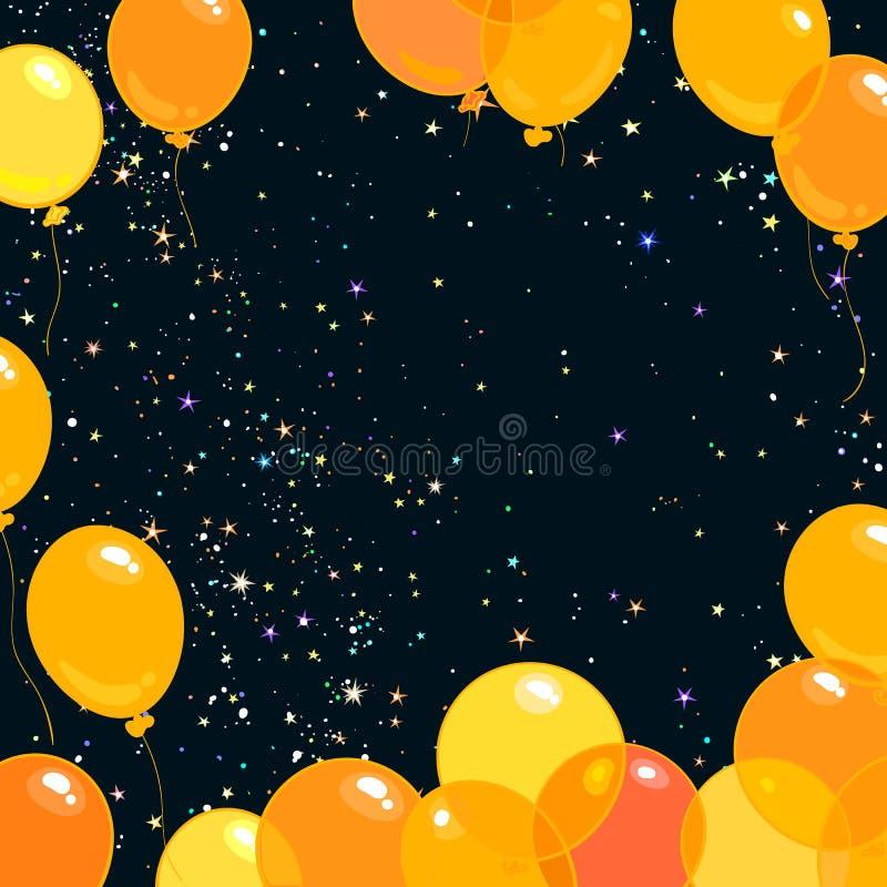 El vuelo amarillo y anaranjado de Colorfull hincha en el fondo estrellado del cielo nocturno Vector stock de ilustración