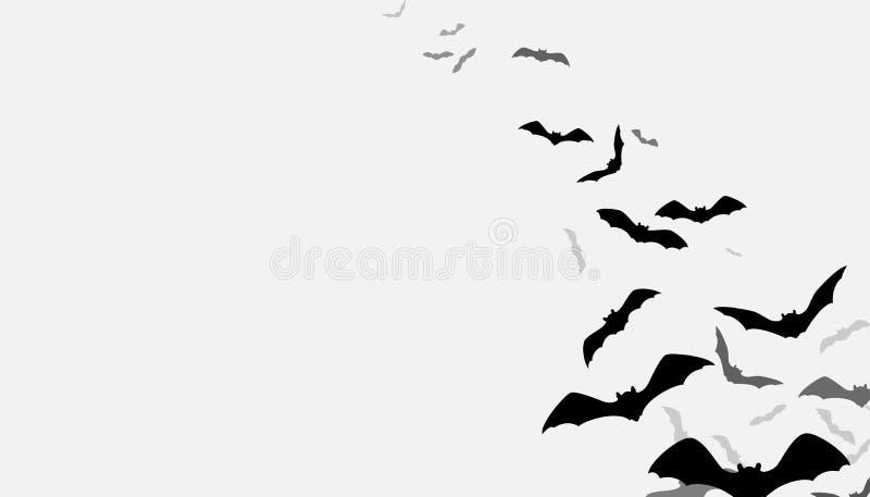 El vuelo de Halloween golpea el fondo Grupo espeluznante del flittermouse de la silueta aislado en blanco Ilustración del vector libre illustration