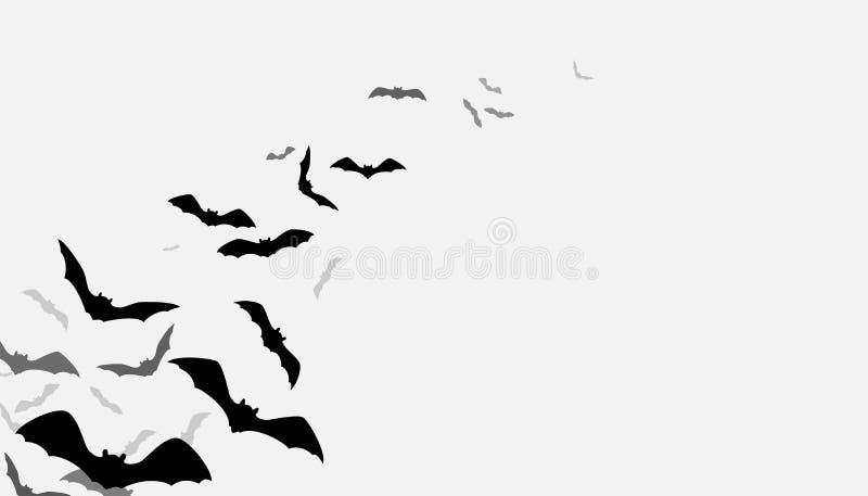 El vuelo de Halloween golpea el fondo Grupo espeluznante del flittermouse de la silueta aislado en blanco Ilustración del vector ilustración del vector