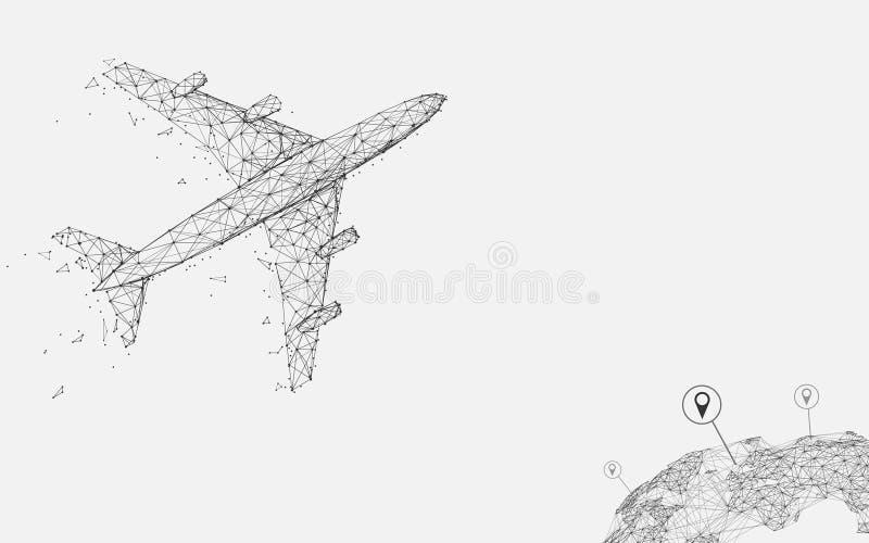 El vuelo del aeroplano con las líneas de la forma del perno de la ubicación, los triángulos y el estilo de la partícula diseñan ilustración del vector