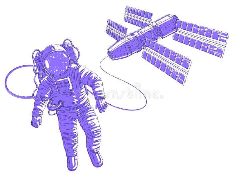 El vuelo del astronauta en espacio abierto conectó con la estación espacial, astron stock de ilustración