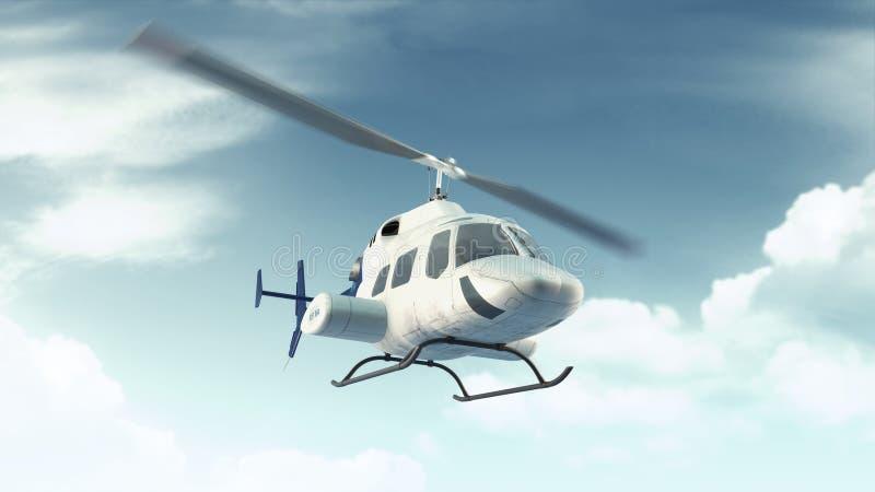 El vuelo del helicóptero en azul se nubla el cielo ilustración del vector