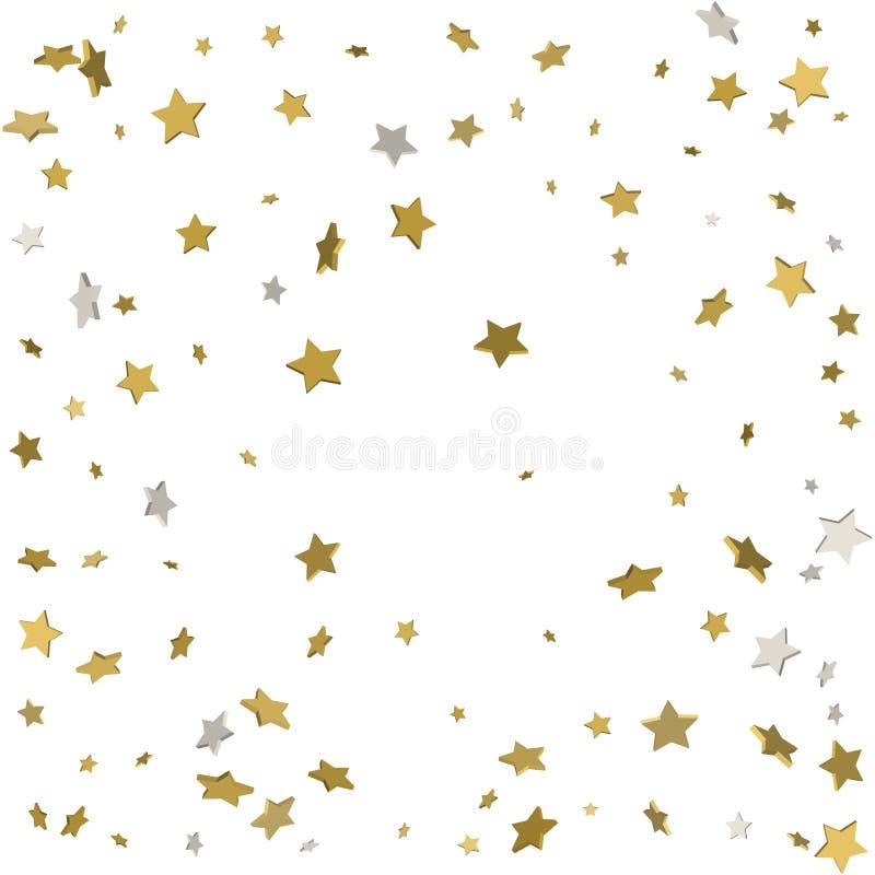 El vuelo del oro protagoniza el vector mágico del marco de la Navidad del confeti, superior stock de ilustración