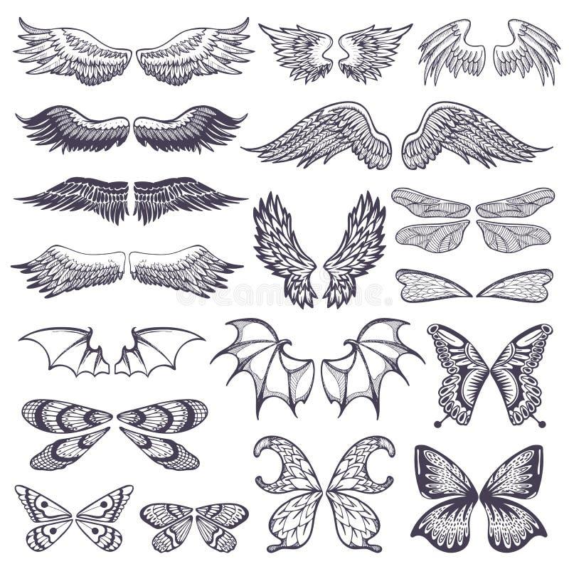 El vuelo del vector de las alas se fue volando ángel con el ala-caso de pájaro y de mariposa con el tatuaje del ala-golpe del neg ilustración del vector