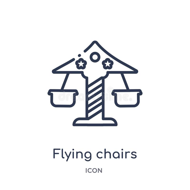 El vuelo linear preside el icono de la colección del esquema del circo Línea fina vector de las sillas del vuelo aislado en el fo stock de ilustración