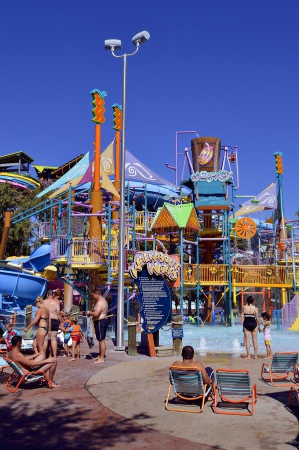 El Walkabout riega área de juego de la aventura en parque del agua de Aquatica fotografía de archivo libre de regalías