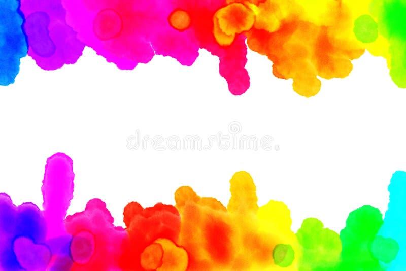 El Watercolour del arco iris gotea y borra foto de archivo libre de regalías