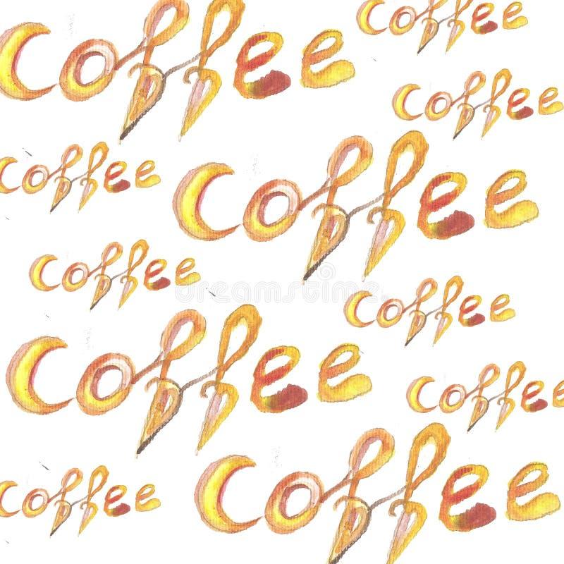 El Watercolour texturizado poniendo letras al café es siempre una buena idea aislado en el tema, cartel, impresión de la camiseta stock de ilustración