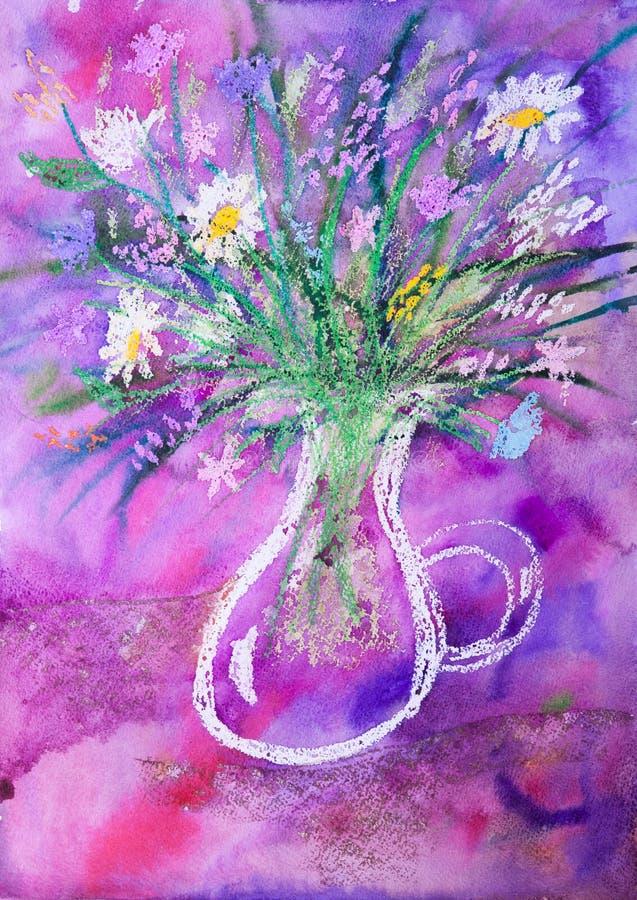 El watercolour y la imagen en colores pastel del niño de flores stock de ilustración