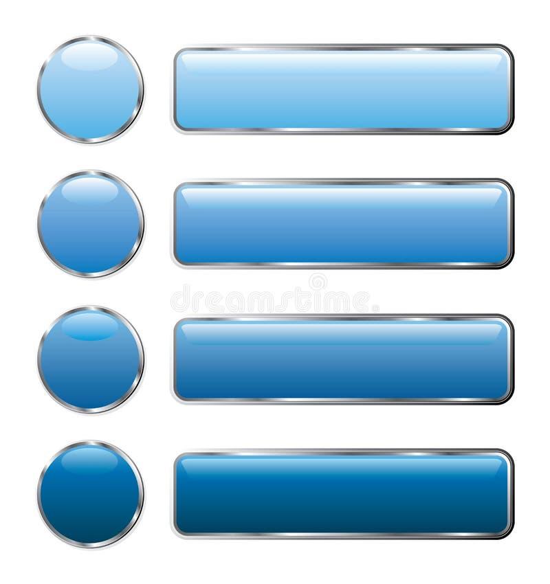 El Web azul abotona de largo ilustración del vector