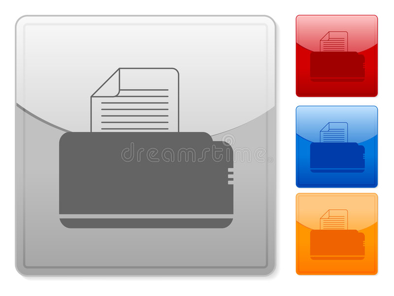 El Web cuadrado abotona la impresora libre illustration