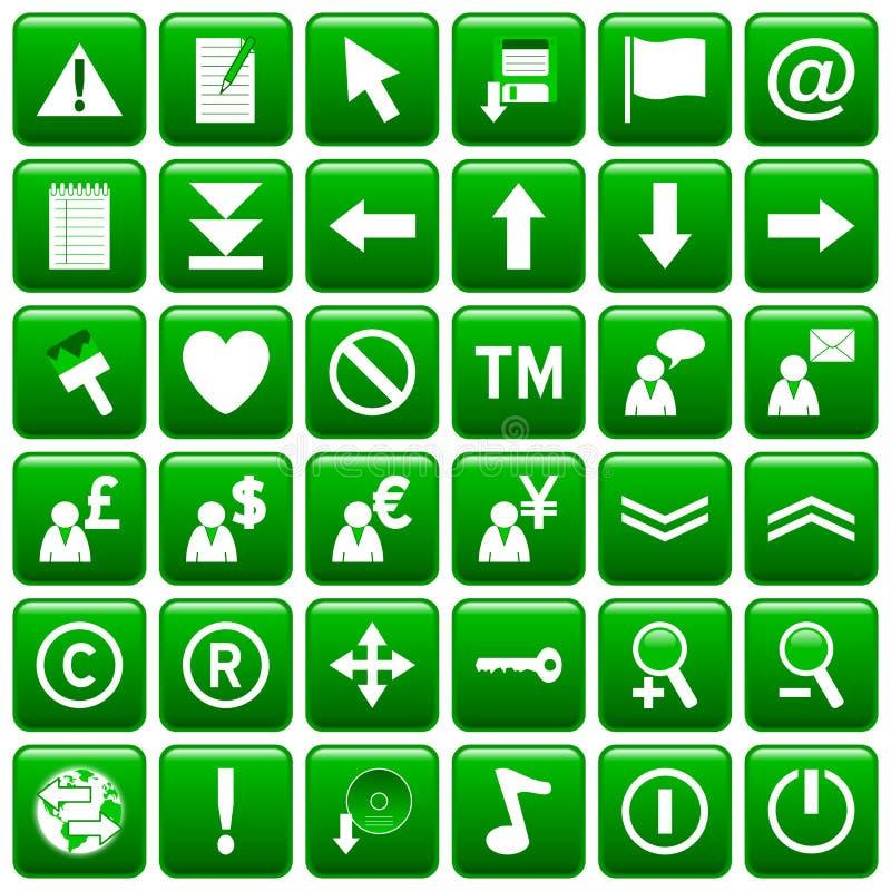 El Web cuadrado verde abotona [2] libre illustration