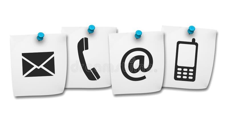 El web nos entra en contacto con los iconos en post-it stock de ilustración