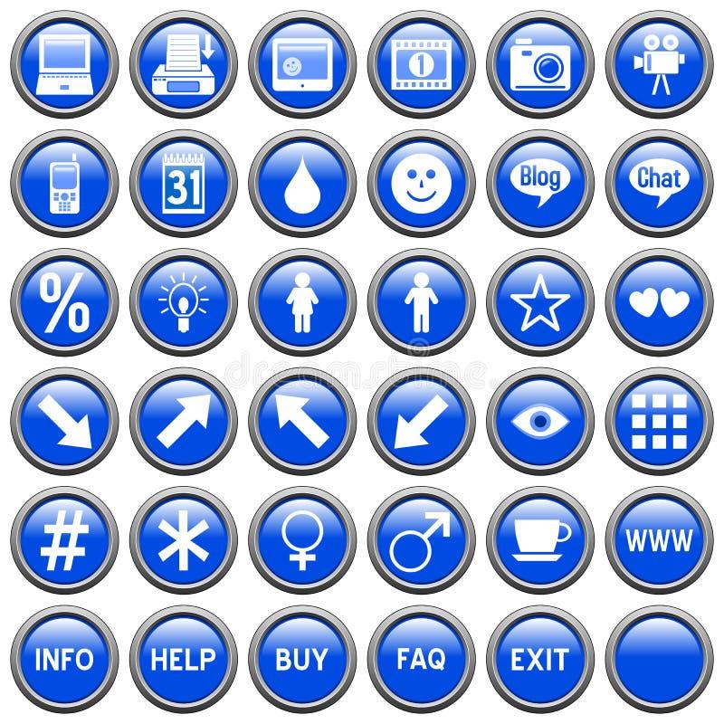 El Web redondo azul abotona [4] ilustración del vector