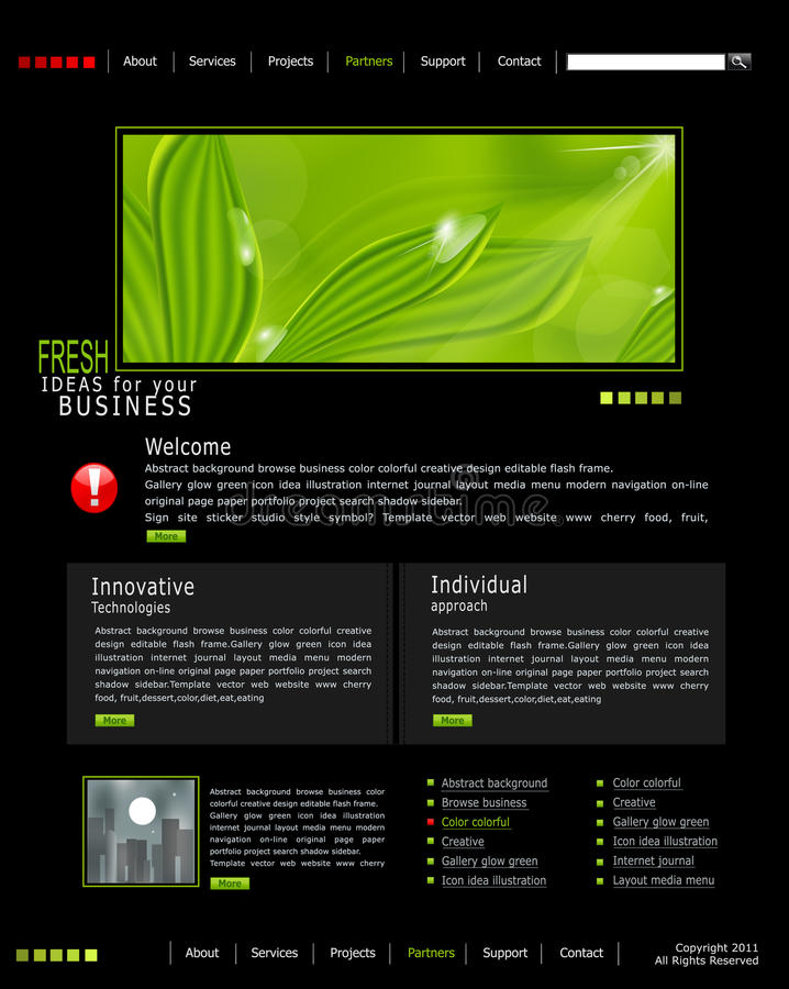 El Web site del vector es negro con las hojas verdes stock de ilustración