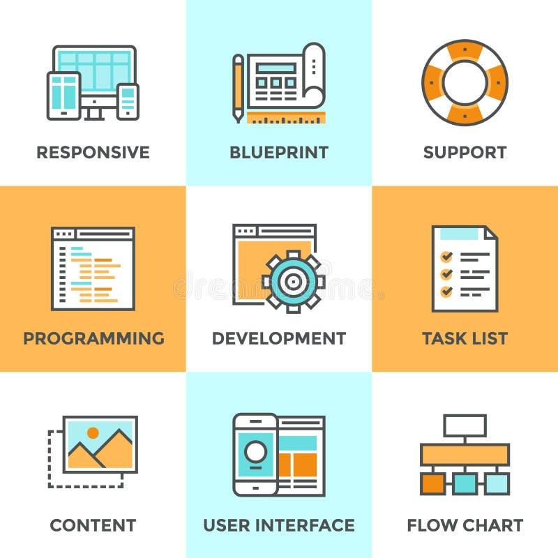 El web y UI desarrollan la línea iconos fijados stock de ilustración