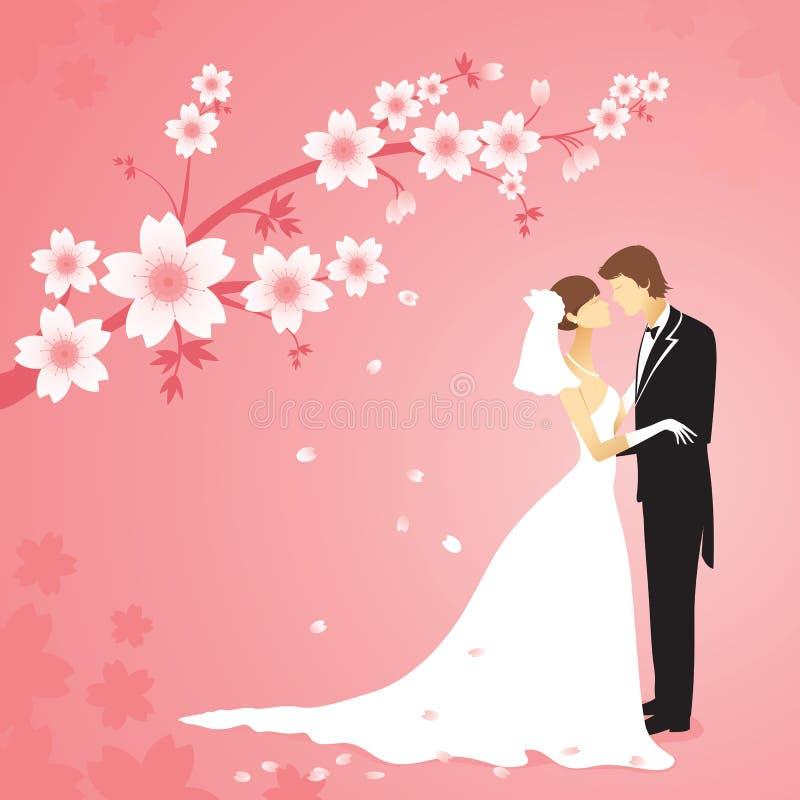 El Wedding en el jardín ilustración del vector