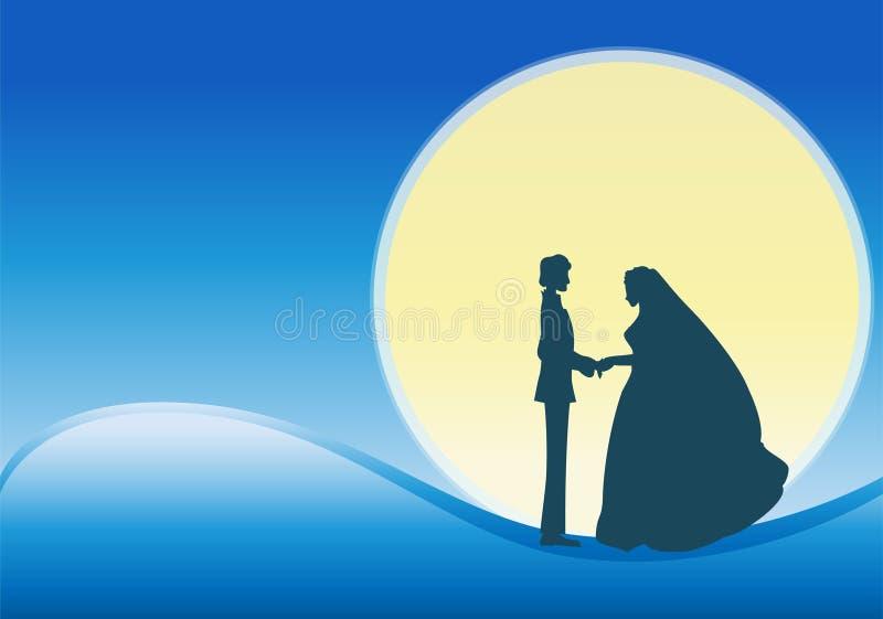 El Wedding en la luna stock de ilustración