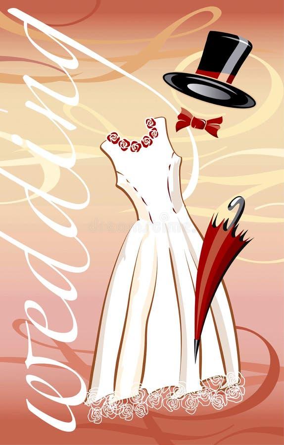 El Wedding en rojo stock de ilustración