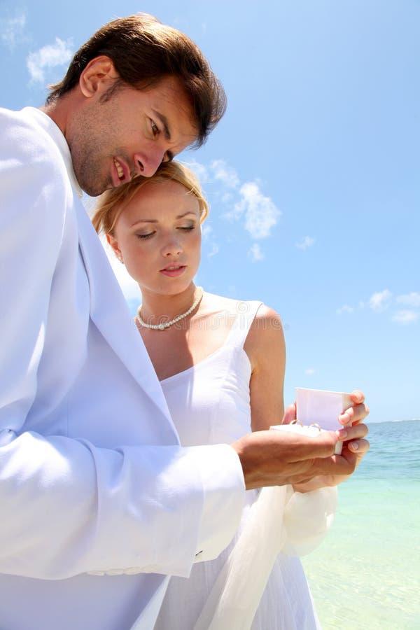 El Wedding en una playa arenosa blanca imágenes de archivo libres de regalías