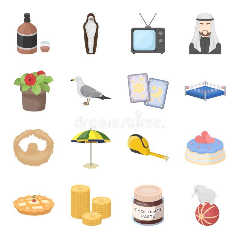 El whisky, la botella, el alcohol y el otro icono del web en estilo de la historieta Momia, Egipto, iconos de la TV en la colecci stock de ilustración