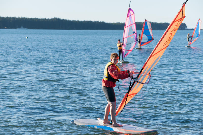 El Windsurfing en el puerto de Tauranga. imagen de archivo libre de regalías