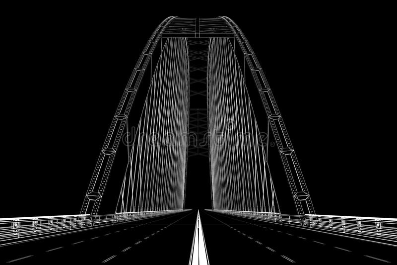 el wireframe 3d rinde de un puente stock de ilustración