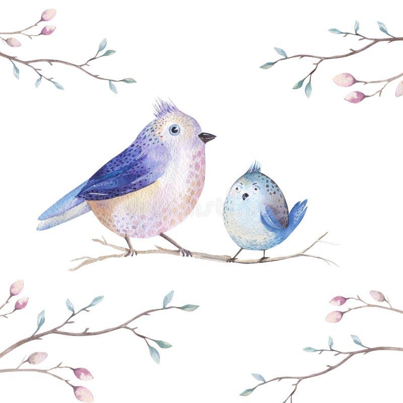 El witm del pájaro de la historieta del vuelo de la acuarela del dibujo de la mano se va, branche ilustración del vector