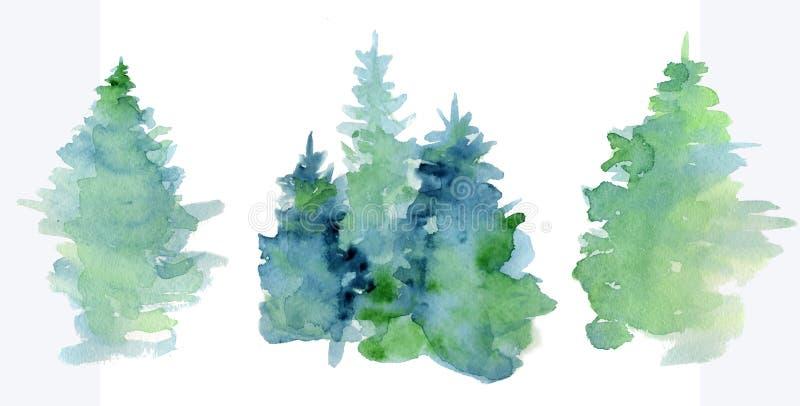 El woddland abstracto de la acuarela, silueta de los abetos con las cenizas y salpica, fondo del invierno ilustración del vector