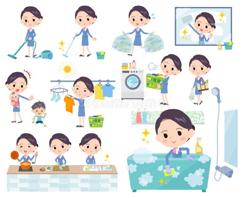 El women_housekeeping azul del asistente de cabina ilustración del vector
