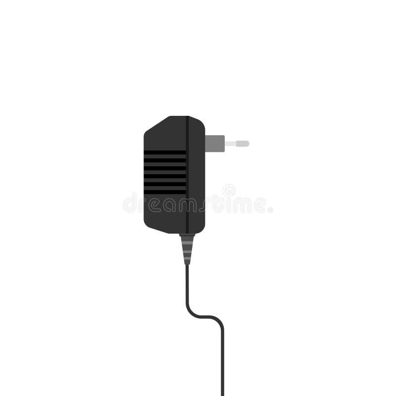 El zócalo del adaptador desenchufó el icono plano del cargador del poder del equipo aislado en blanco imagen de archivo
