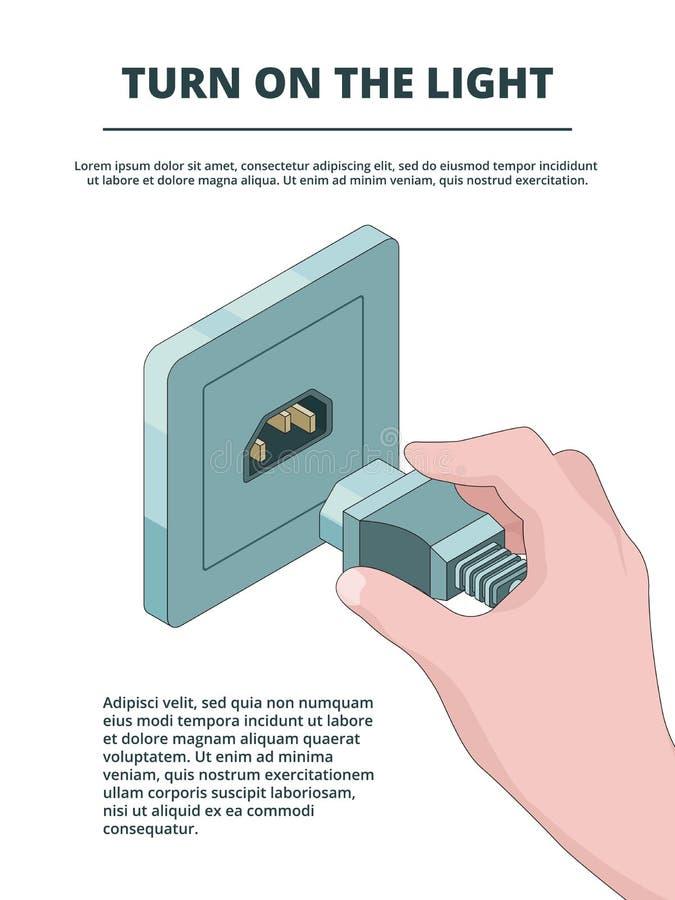 El zócalo eléctrico activa Concepto del negocio de conexiones del enchufe eléctrico con el lugar para su vector del texto isométr ilustración del vector