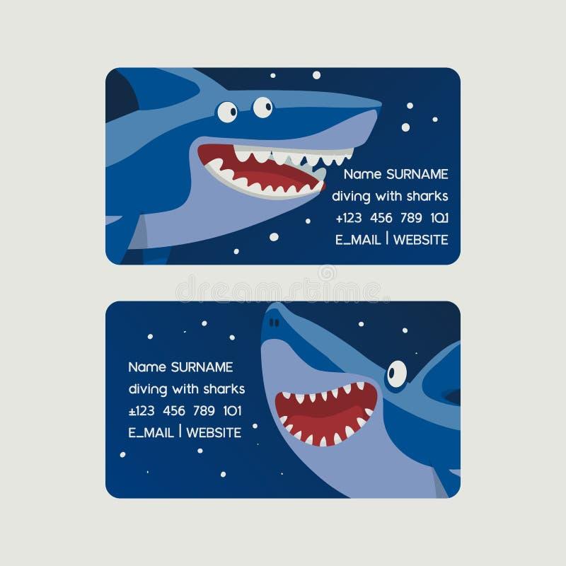El zambullirse con el sistema de los tiburones del ejemplo del vector de las tarjetas de visita Carácter de los pescados de la hi libre illustration