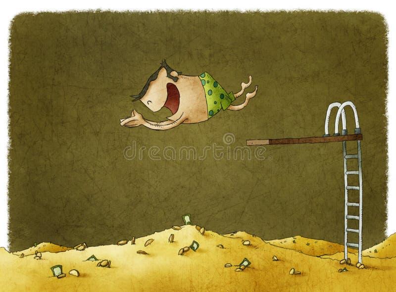 El zambullirse en una pila de dinero grande libre illustration