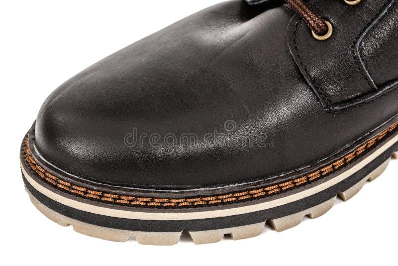 El zapato del hilo fuerte needled, puntada del primer de la costura, aislada imagenes de archivo