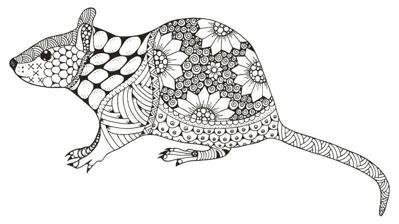 El zentangle chino de la muestra del zodiaco de la rata estilizó, ejemplo del vector, ilustración del vector