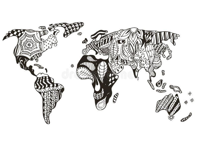 El zentangle del mapa del mundo estilizó, vector, ejemplo, pluma a pulso ilustración del vector