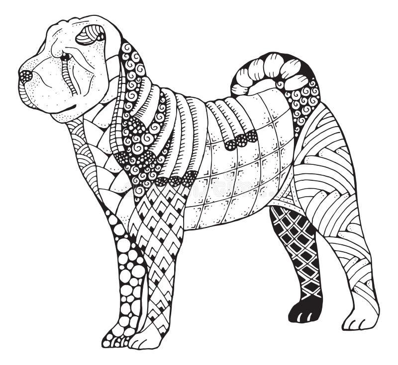 El zentangle del perro del pei de Shar estilizó, vector, ejemplo, a pulso libre illustration