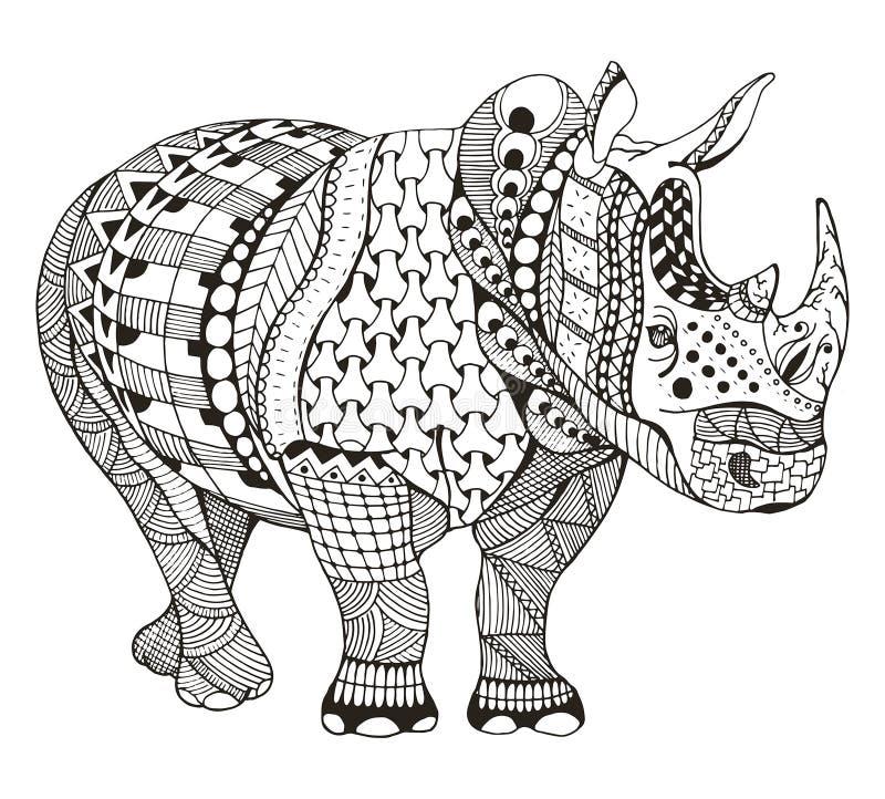 El zentangle del rinoceronte estilizó, vector, ejemplo, lápiz a pulso, stock de ilustración